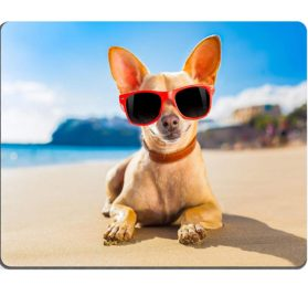 Luxlady Gaming Mousepad IMAGE ID- 32316162 chihuahua dog at the ocean shore beach wearing red funny sunglasses