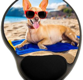 Luxlady Mousepad wrist protected Mouse Pads Mat with wrist support design IMAGE ID- 32316228 chihuahua dog at the ocean shore beach wearing red funny sunglasses smiling at camera 2