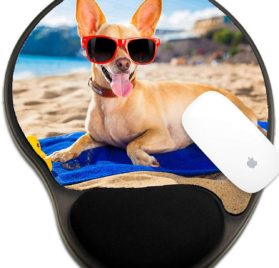 Luxlady Mousepad wrist protected Mouse Pads Mat with wrist support design IMAGE ID- 32316228 chihuahua dog at the ocean shore beach wearing red funny sunglasses smiling at camera