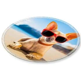 Luxlady Round Gaming Mousepad 32316162 chihuahua dog at the ocean shore beach wearing red funny sunglasses 2