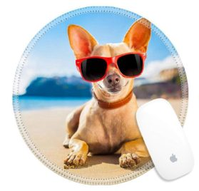 Luxlady Round Gaming Mousepad 32316162 chihuahua dog at the ocean shore beach wearing red funny sunglasses