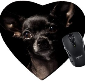 MSD Mousepad Heart Shaped Mouse Pads Mat design- 7982001 black chihuahua