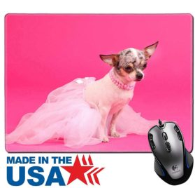 MSD Natural Rubber Mouse Pad Mat with Stitched Edges 9.8 x 7.9 IMAGE ID- 11701901 Chihuahua ballerina dog dancer on pink