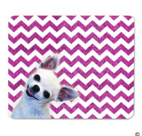 MsMr Mouse Pad Funny MousePad Chihuahua Dog With Bling Chevron Background Creative Designed Gaming Mouse Pad