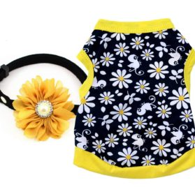Ollypet Pack of 2 Dog Clothes For Small Dogs Summer Shirt Flower Collar Cute Yellow Outfit Girl Puppy Cat Pink Pet Chihuahua Yorkie