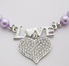 PetFavorites™ Couture Designer Fancy Cute Engraved Letter Love and Crystal Heart Pet Cat Dog Necklace Collar 2