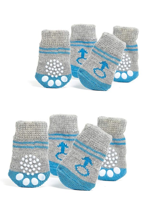 Toy Small Dog Non Slip 2 sock packs (8 pcs) For Yorkie Pom Maltese Chihuahua (Very Small Size, blue, gray, male signs)