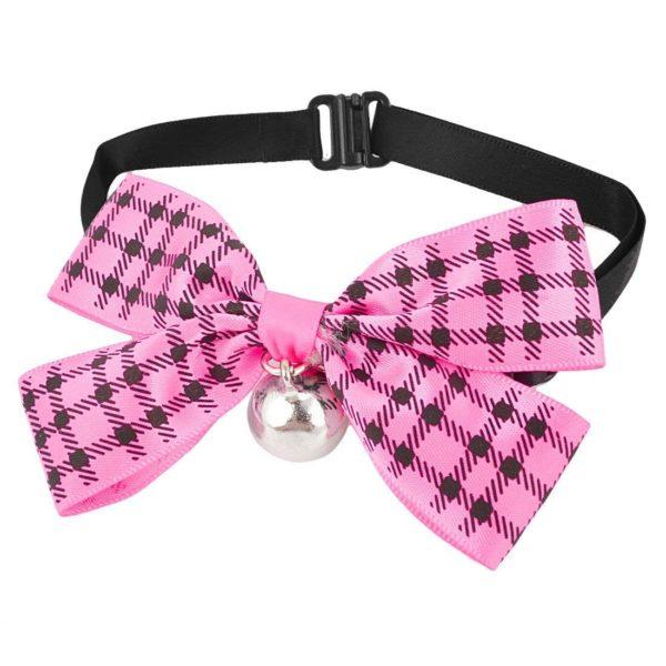 Uxcell Checker Print Pet Bowknot Necktie Collar, Pink Black