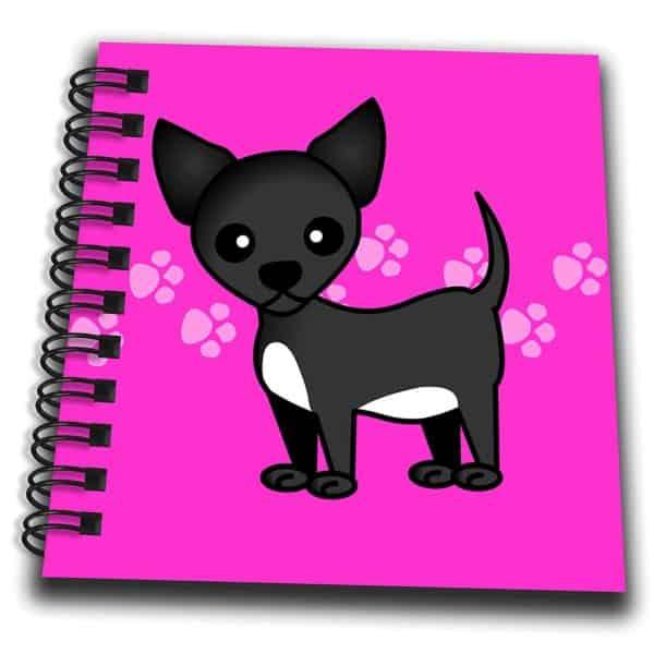 "3dRose db_12081_3 Cute Black Chihuahua Pink Paw print Background Mini Notepad, 4 by 4"""