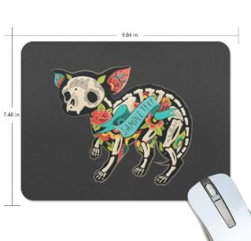 ALAZA Christmas Chihuahua Skeletons with Floral Non-Slip Rubber Decorate Gaming Mouse Pad 9.84 x 7.48 inch