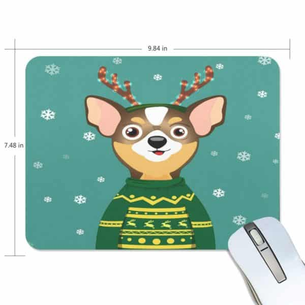 ALAZA Stylish Christmas Cute Chihuahua Non-Slip Rubber Decorate Gaming Mouse Pad 9.84 x 7.48 inch