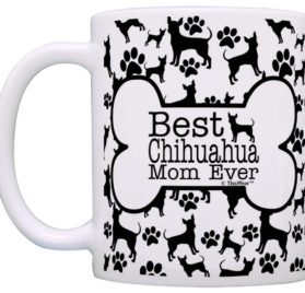 Dog Owner Gifts Best Chihuahua Mom Ever Paw Pattern Gift Coffee Mug Tea Cup Bone Pattern 2