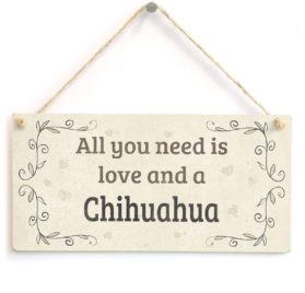 """Meijiafei All You Need Is Love And A Chihuahua - Beautiful Home Accessory Gift Sign For Chihuahua Dog Owners 10""""x5"""""""