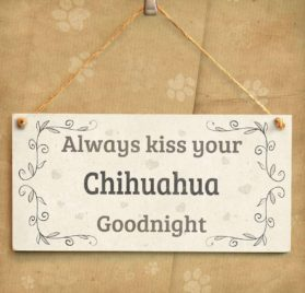 """Meijiafei Always Kiss Your Chihuahua Goodnight - Charming Home Accessory Gift Sign For Chihuahua Dog Owners 10""""x5"""" 2"""
