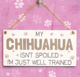 """Meijiafei My Chihuahua Isn't Spoiled I'm Just Well Trained - Cute And Funny Home Accessory Gift Sign For Chihuahua Dog Owners 10""""x5"""" 2"""