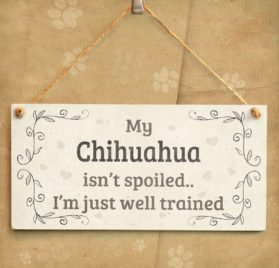 """Meijiafei My Chihuahua Isn't Spoiled I'm Just Well Trained - Pretty Home Accessory Gift Sign For Chihuahua Dog Owners 10""""x5"""" 2"""