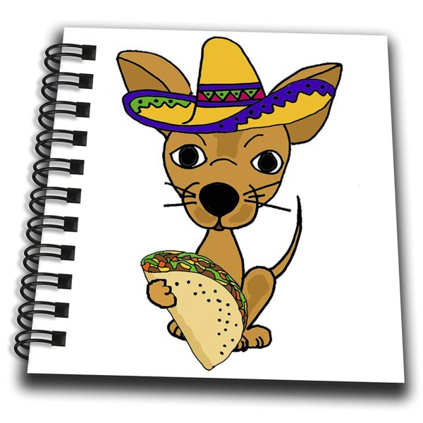 3dRose All Smiles Art Pets - Cute Funny Chihuahua Dog in Sombrero eating Taco Cartoon - Mini Notepad 4 x 4 inch (db_263806_3)