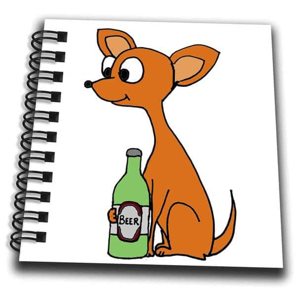 3dRose All Smiles Art Pets - Funny Cute Red Chihuahua Dog Drinking Beer Cartoon - Mini Notepad 4 x 4 inch (db_263911_3)