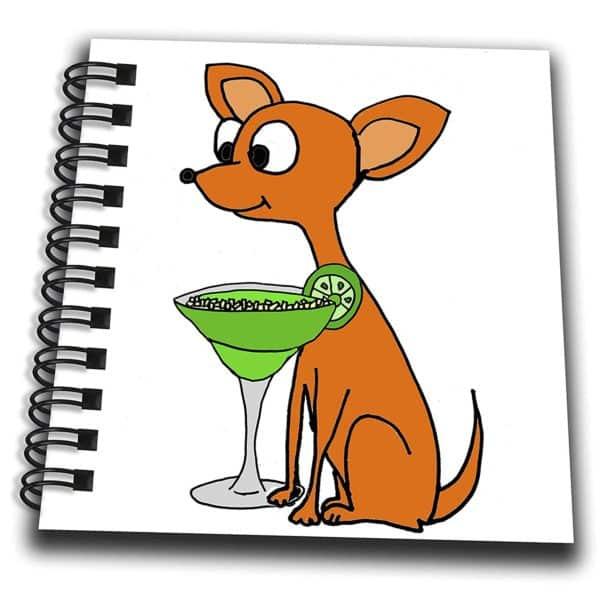 3dRose All Smiles Art Pets - Funny Red Chihuahua Dog Drinking Margarita Cartoon - Mini Notepad 4 x 4 inch (db_263910_3)