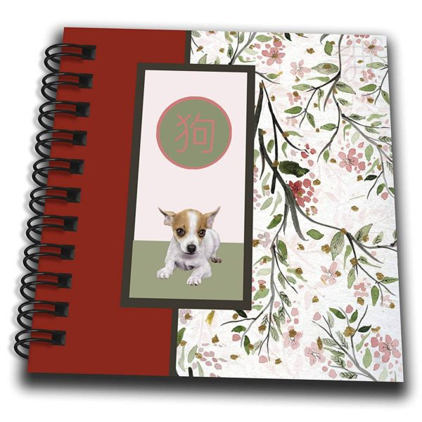 3dRose Beverly Turner Chinese New Year Design - Chihuahua, Chinese Sign of Dog, Blossom Print, Pink, Green, Red - Mini Notepad 4 x 4 inch (db_262895_3)