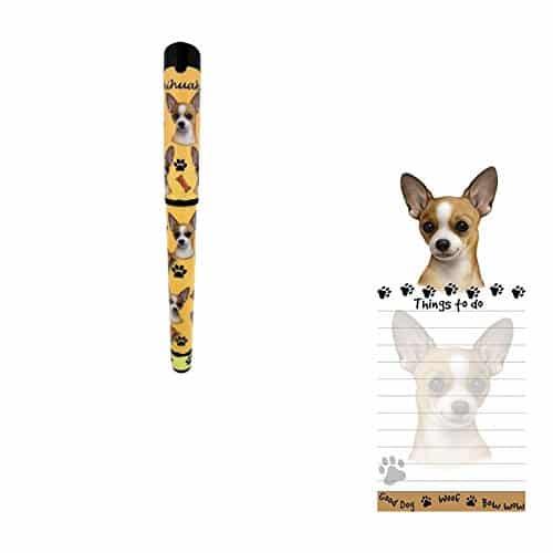 Bundle - 2 Items- Tan Chihuahua Magnetic List Note Pad & Gel Pen