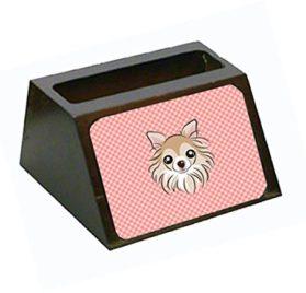 "Caroline's Treasures ""Checkerboard Pink Chihuahua"" Decorative Desktop Wooden Business Card Holder, Large, Multicolor"