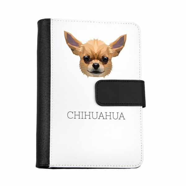 Chihuahua Notebook of eco-leather with a dog geometric
