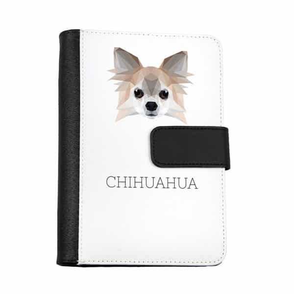 Chihuahua Notebook of eco-leather with a dog, geometric