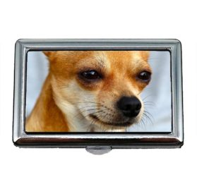 Cigarette Case Box, Chihuahua Dog Puppy Cute Pet Breed0, Business Card Holder Business Card Case Stainless