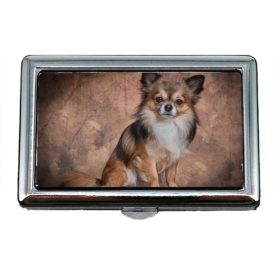 Cigarette Case Box, Chihuahua Mammal Dog Animal Cute Fur Small, Business Card Holder Business Card Case Stainless