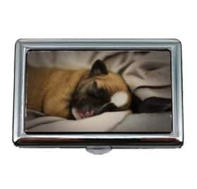 Cigarette Holder Case, Puppy Chihuahua Dog Cute Cozy Pet Little Brown, Business Card Holder Business Card Case Stainless
