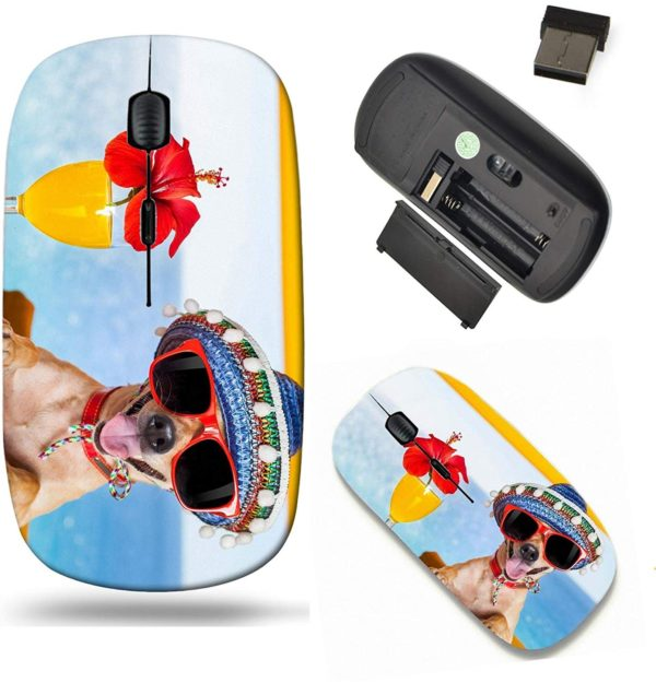 Liili Wireless Mouse Travel 2.4G Wireless Mice with USB Receiver, Click with 1000 DPI for notebook, pc, laptop, computer, mac book IMAGE ID- 32315970 funny cool chihuahua dog drinking cocktails