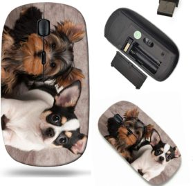 Liili Wireless Mouse Travel 2.4G Wireless Mice with USB Receiver, Click with 1000 DPI for notebook, pc, laptop, computer, mac book Puppies of Yorkshire Terrier and Chihuahua on textile background