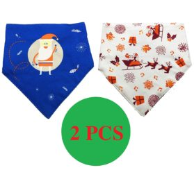 FUNPET 2 Pcs Christmas Dog Bandana Triangle Bibs Scarfs Accessories for Small Pet Cats and Puppies