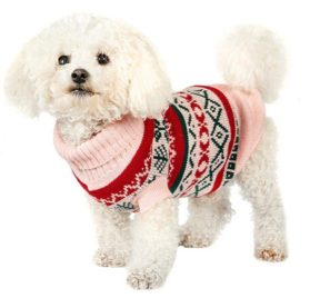 OutTop Dogs Cold Weather Knitted Turtle Neck 3D Patterns Sweater Small-Sized Dogs Dachshund, Poodle, Pug, Chihuahua, Shih Tzu, Yorkshire Terriers, Papillon