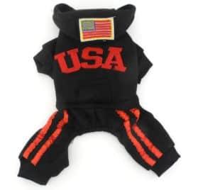 PETLOVE Pet Apparel Small Dog Cat Clothes Costume USA Hoodies with Pants Jumpsuit Four-leg Coat Jacket Clothing