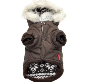 PETLOVE Reversible Small Dog Winter Coat Snowflake Jacket Removable Hood Puppy Pet Clothes Windproof Brown XS 2