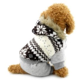 SELMAI Snowflake Hooded Velvet Small Dog Cat Jumpsuit Fleece Warm Winter Pet Puppy Snowsuit Windproof Outfits Clothes Apparel Brown S 2