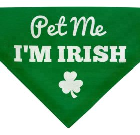ThisWear Dog St Patricks Day Gifts Pet Me I'm Irish Funny Cute Dog Gift Lap Dog Clothes St Patricks Day Outfits for Dogs Small Dog Bandana Scarf