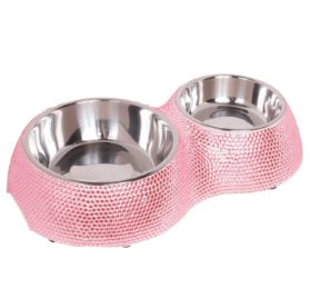 Crystal Rhinestone Bling Small Plastic & Stainless Steel Double Cat/Dog Bowl - 1