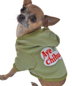 Ruff Ruff and Meow Dog Hoodie, Aye Chihuahua, Green, Extra-Small - 1