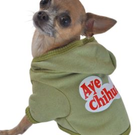 Ruff Ruff and Meow Dog Hoodie, Aye Chihuahua, Green, Extra-Small - 1