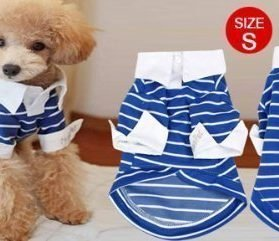 Blue Striped Chihuahua Pet Doggie Dog Shirts Clothes Apparel Size S - 2