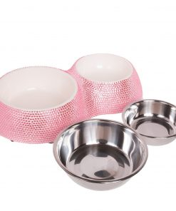 Crystal Rhinestone Bling Small Plastic & Stainless Steel Double Cat/Dog Bowl - 2