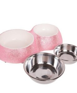 Crystal Rhinestone Bling Small Plastic & Stainless Steel Double Cat/Dog Bowl - 5