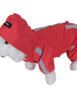 Red Pet Dog Rain Slicker Raincoat Neckline: Approx. 14 inch / 35.5cm - 6