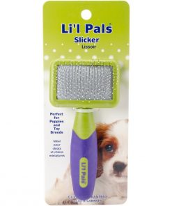 Li'l Pals Slicker Purple and Green Brush for Dogs, Extra Small 2