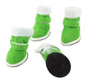 2 Pairs Walking White Plush Rim Green Pet Dog Cat Boot Shoes Size XS-1