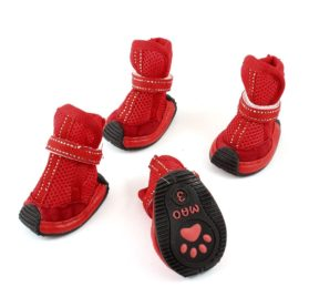 Pet Dog Poodle Mesh Style Antislip Sole Shoes Booties XS 2 Pairs Red-1