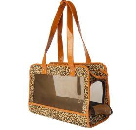 Cheetah-Print Pet Carrier w/ Faux Leather Trim (Various Colors)